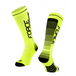 Čarape FORCE COMPRESS, fluo-crne L-XL / 42-47