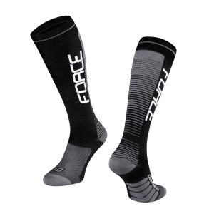 Čarape FORCE COMPRESS, crno-sive L-XL / 42-47