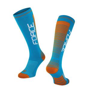 Čarape FORCE COMPRESS, plavo-narandžaste S-M / 36-41